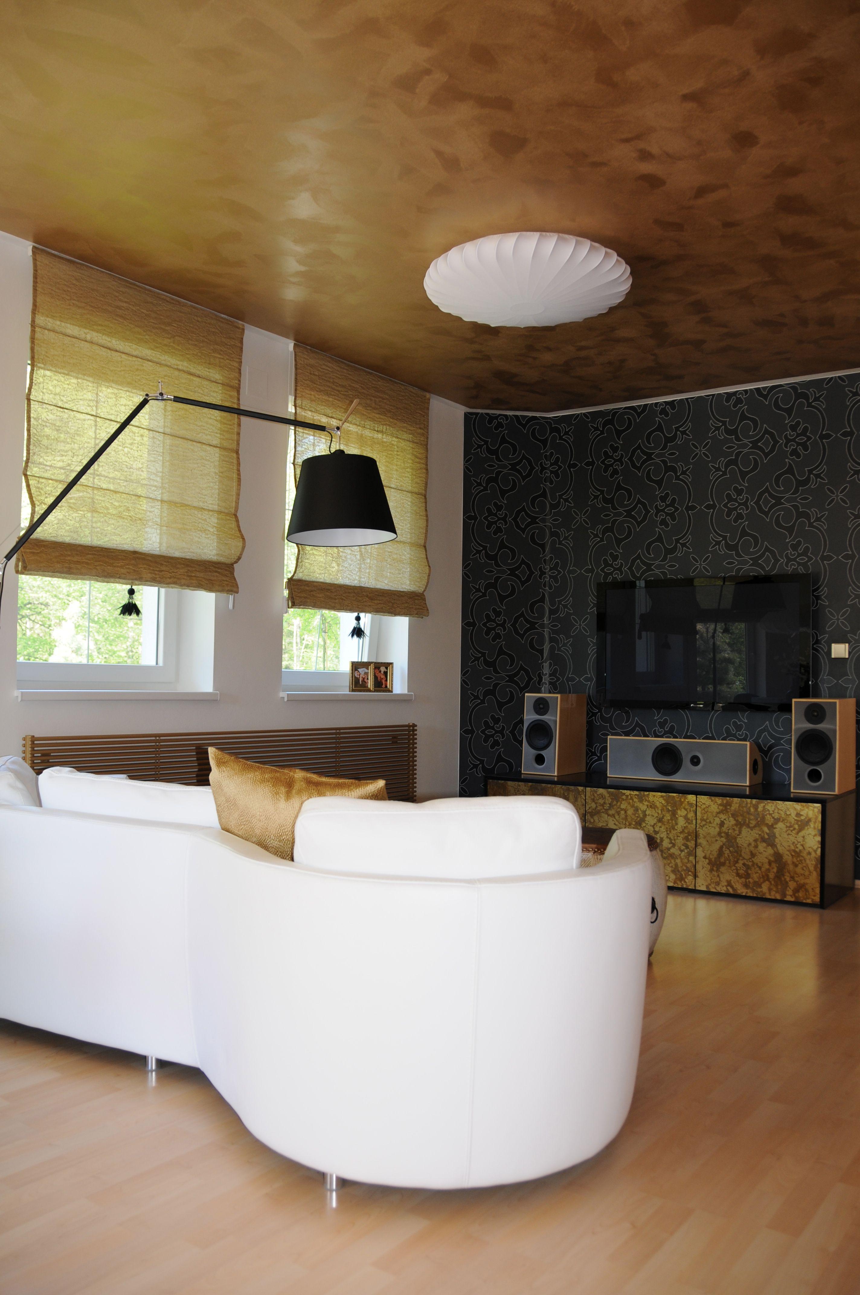 overhead sofa floor lamp old world golden ceiling black wallpaper and elegant white leather