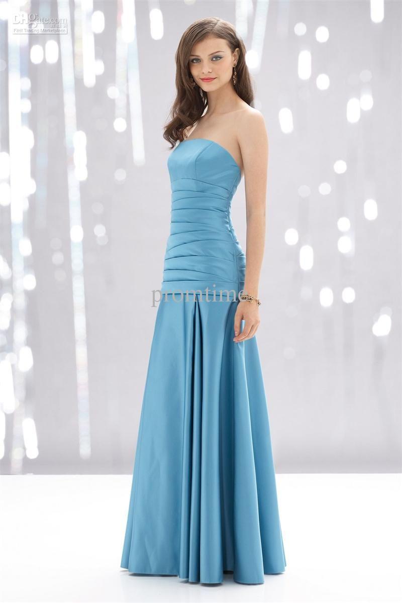 Light Aqua Blue Strapless Bridesmaid Dress With Floor Length ...