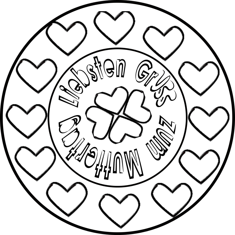 Muttertag Mandala ❦ Herz & Ornament Ausmalen