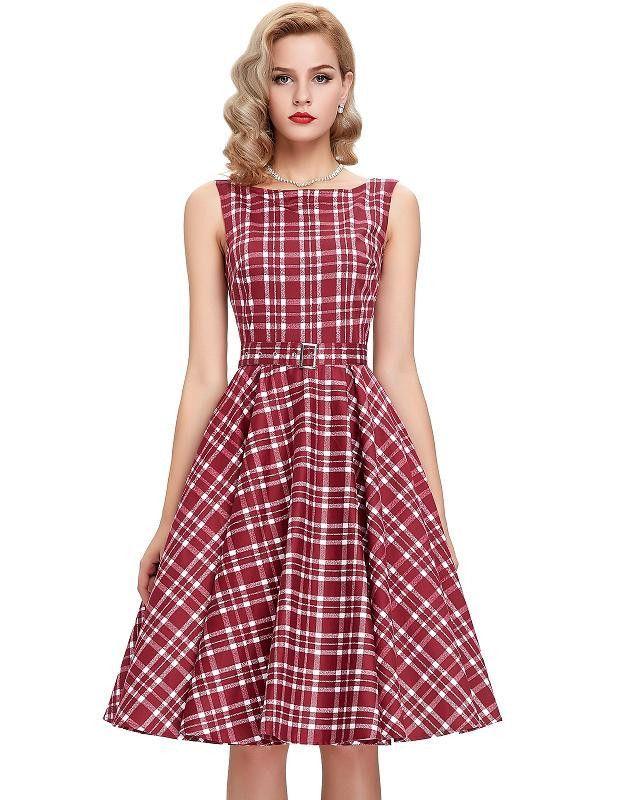Print floral 50s 60s Vintage dresses Audrey Hepburn Sleeveless 2016 ...