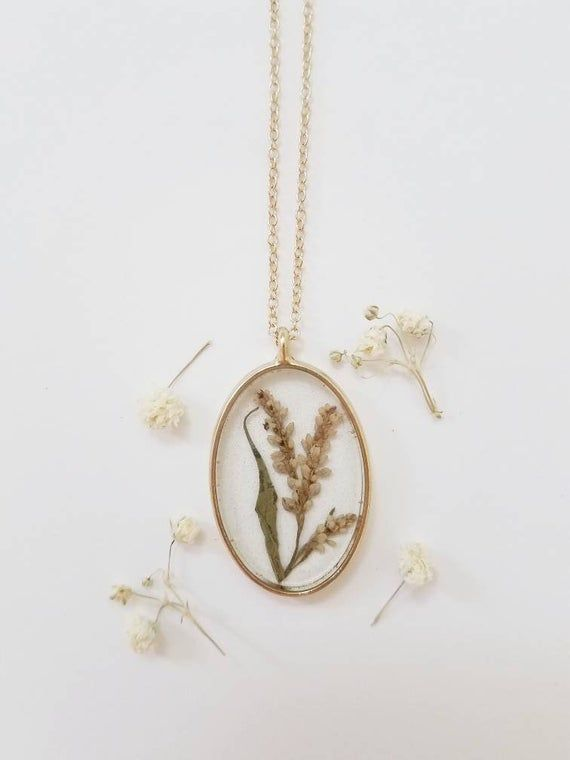 Gold Oval Light Pink Smartweed Pendant Necklace  real pressed flowers floral jewelry nature jewelry resin art handmade large pendantart