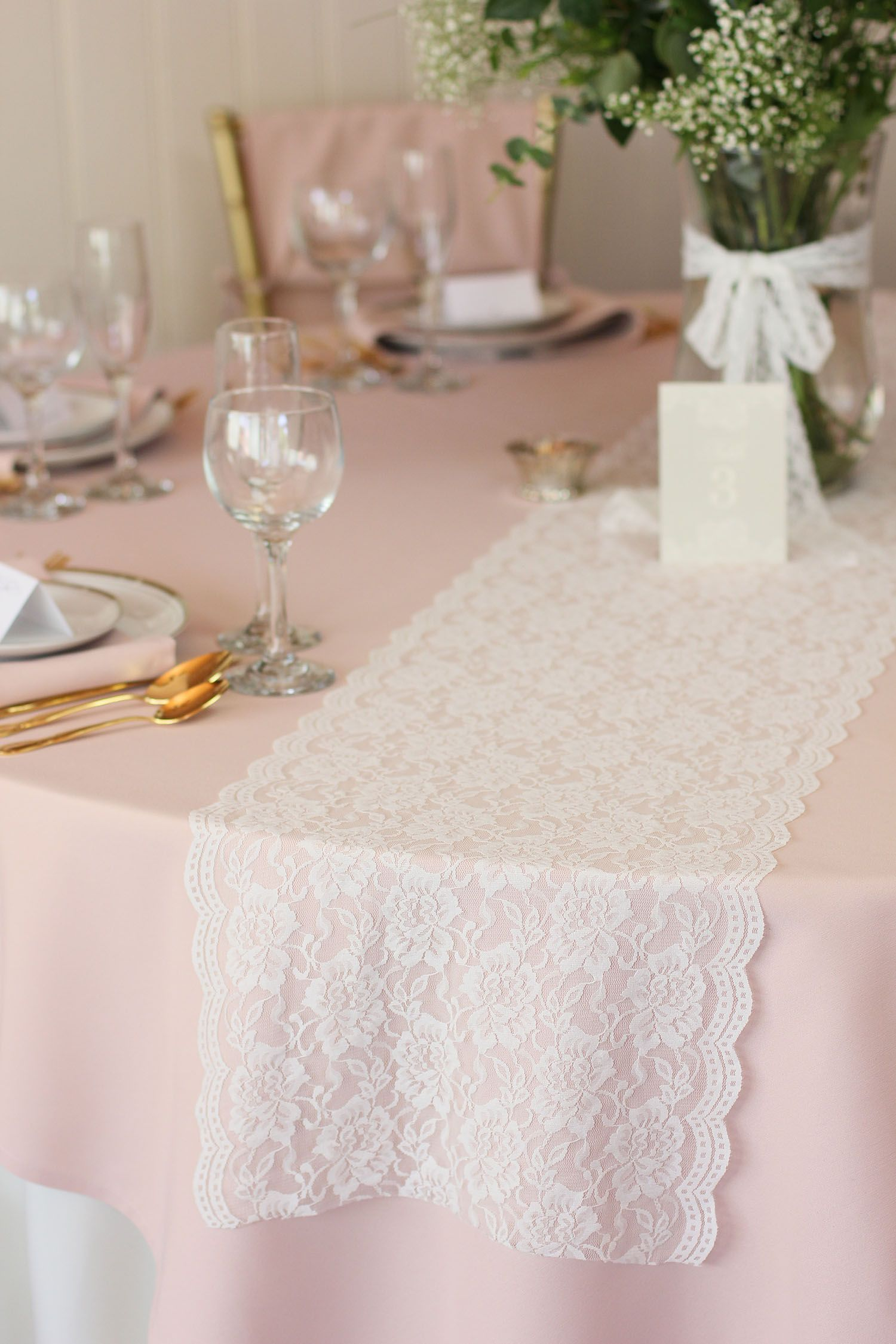 lace table runners blush