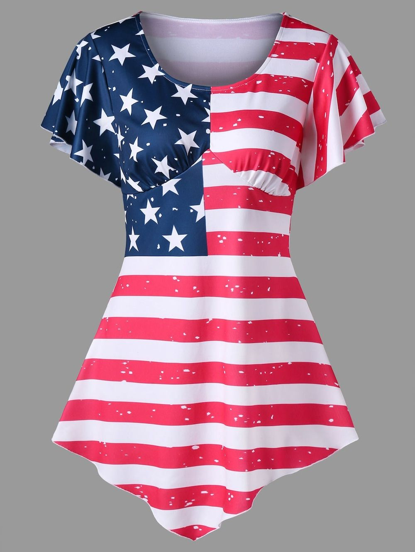 2831ca60dd5 Asymmetrical Empire Waist American Flag Print Tee - COLORMIX 2XL