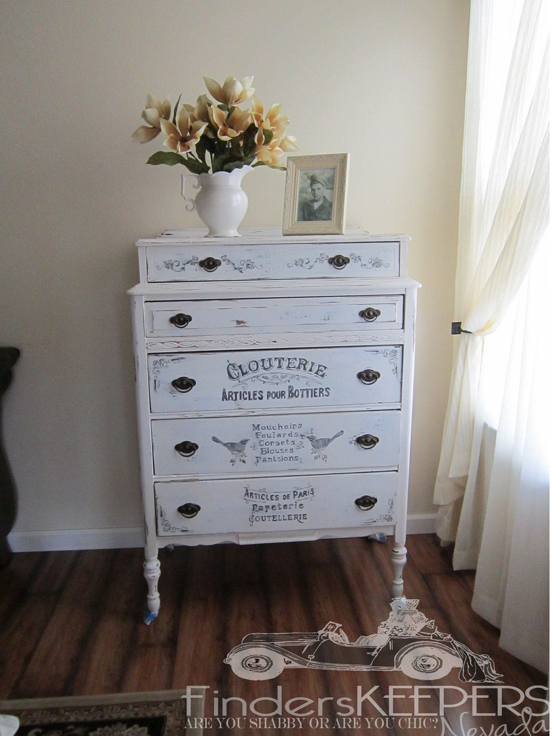 Antique Vintage Handpainted Shabby Chic Tall 5 Drawer Dresser. If I only I had a spare 800 bucks you'd go in the guest room...
