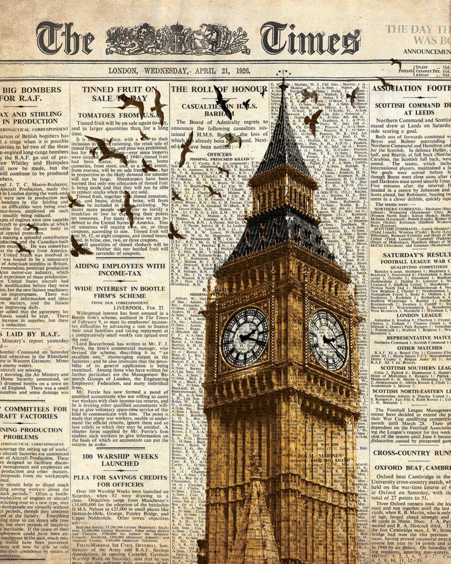 Big Ben and birds on newspaper. London. Wall art ...