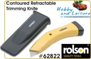 Contoured Retractable Trimming Knife w/ 5 blades,Rolson 62822. Not for sale to persons under the age of 18. By placing an order for this product, you declare that you are 18 years of age or over. This item must be used responsibly and appropriately