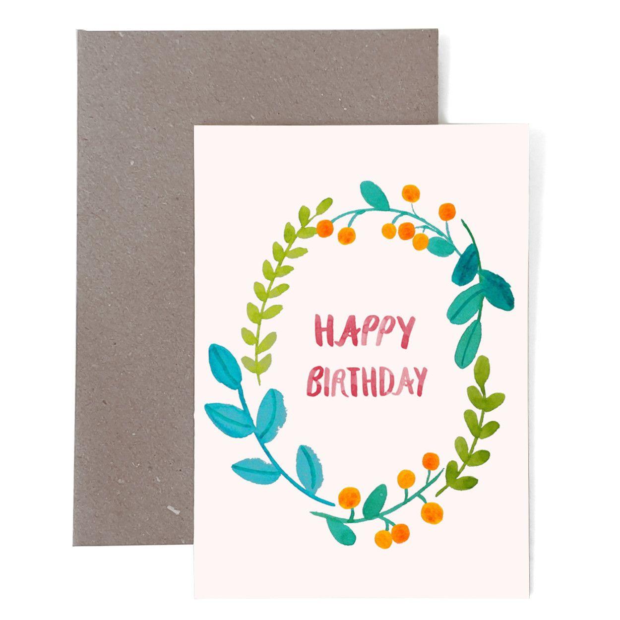 Geburtstagskarte Happy Birthday Mit Blumen Geburtstagskarte
