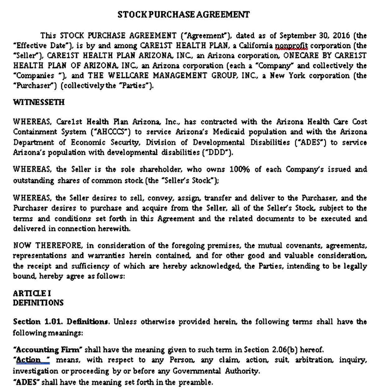 Stock Purchase Agreement Sample Templates