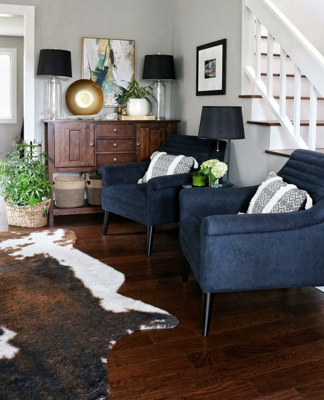 Pin By Joan Meyers On Home Farm House Living Room Cowhide Rug Living Room Navy Living Rooms