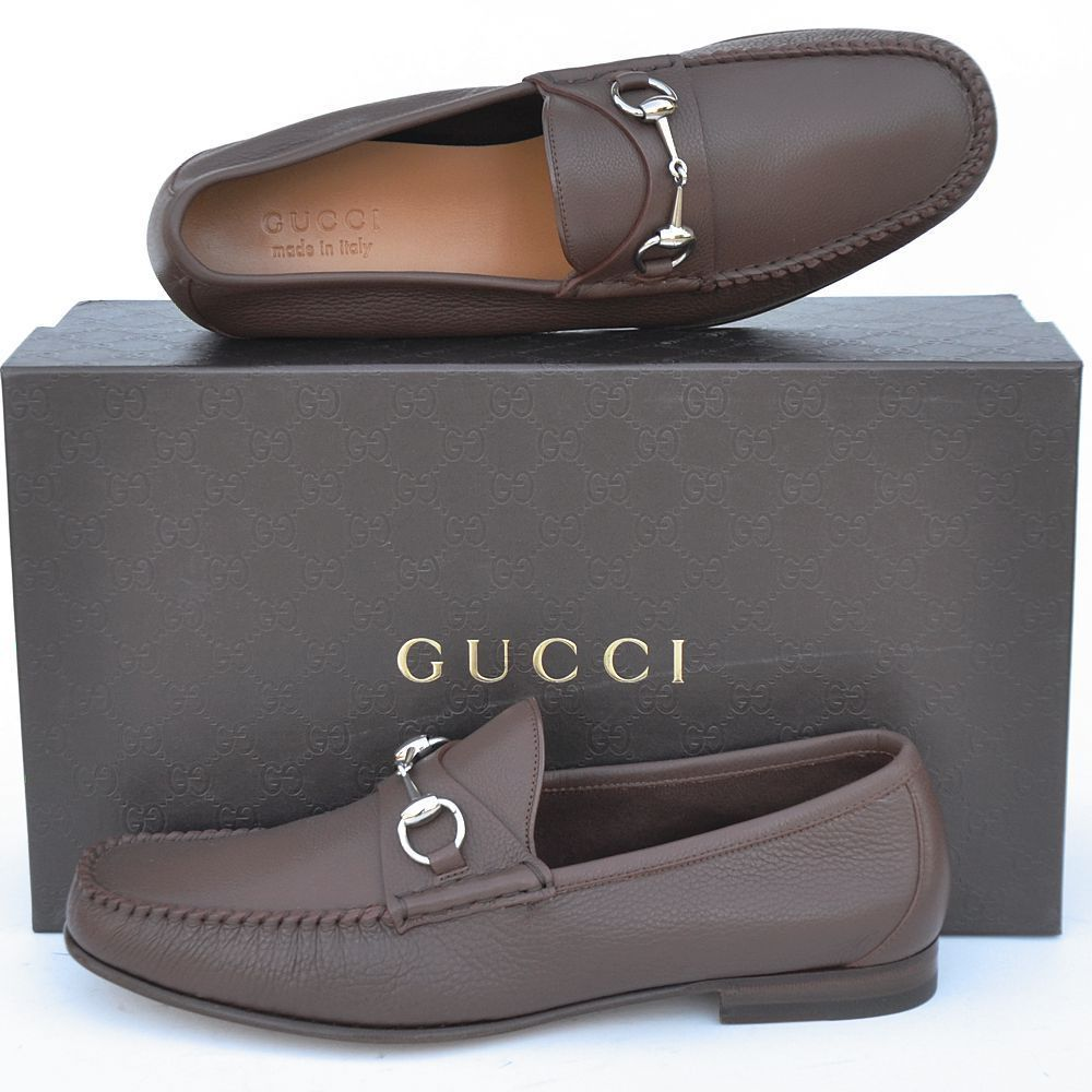 GUCCI New sz 7.5 Auth Designer Horsebit Mens Leather Dress Loafers Shoes  brown