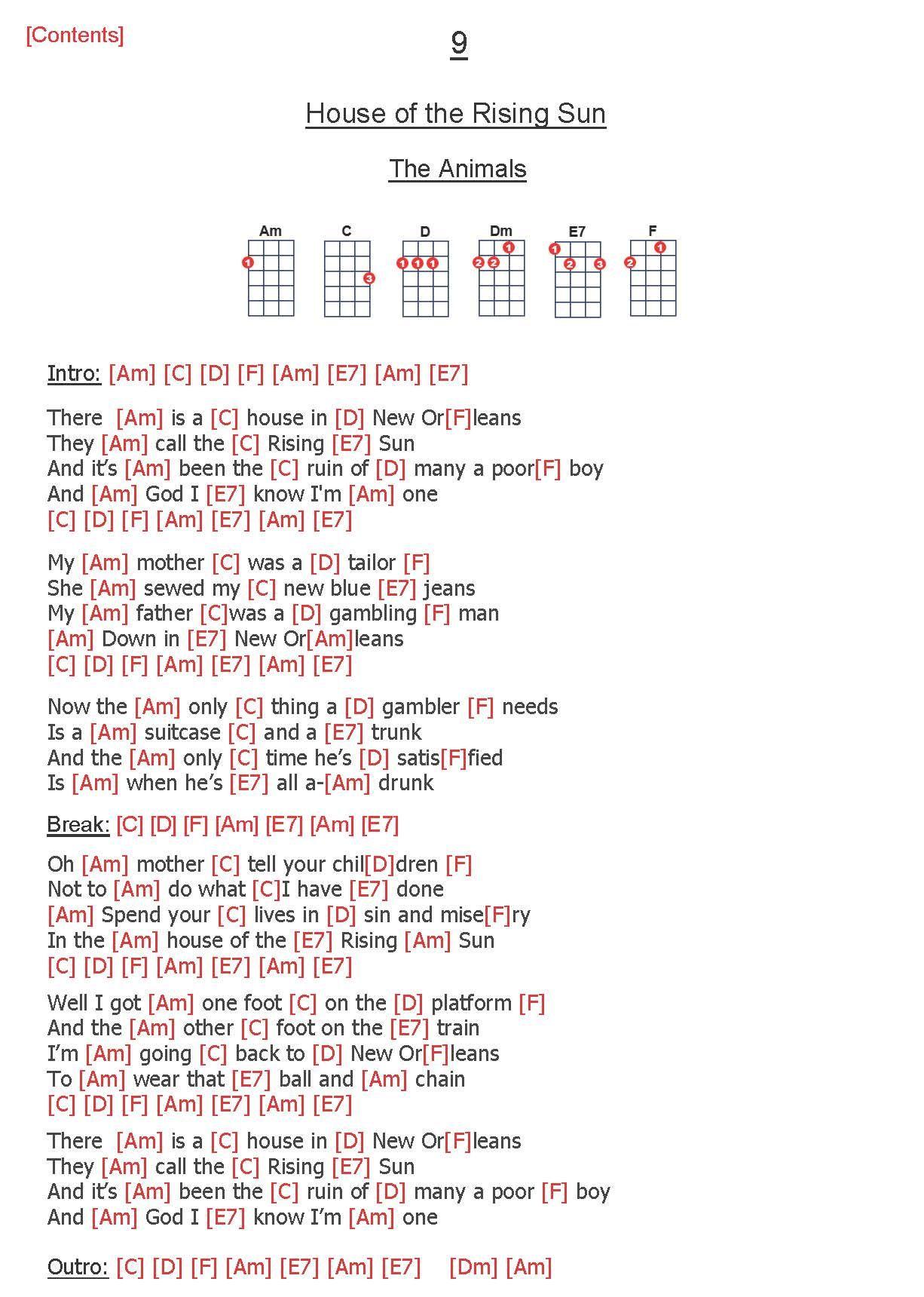 Pin By Ro Dw Th On Ukelele Ukulele Songs House Of The Rising