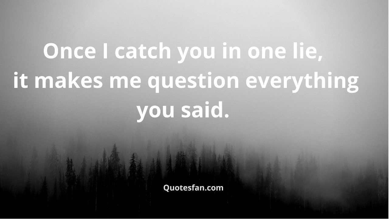 Once I catch you in one lie, it makes me question ...