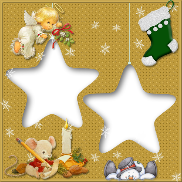 transparent christmas star frame with angel