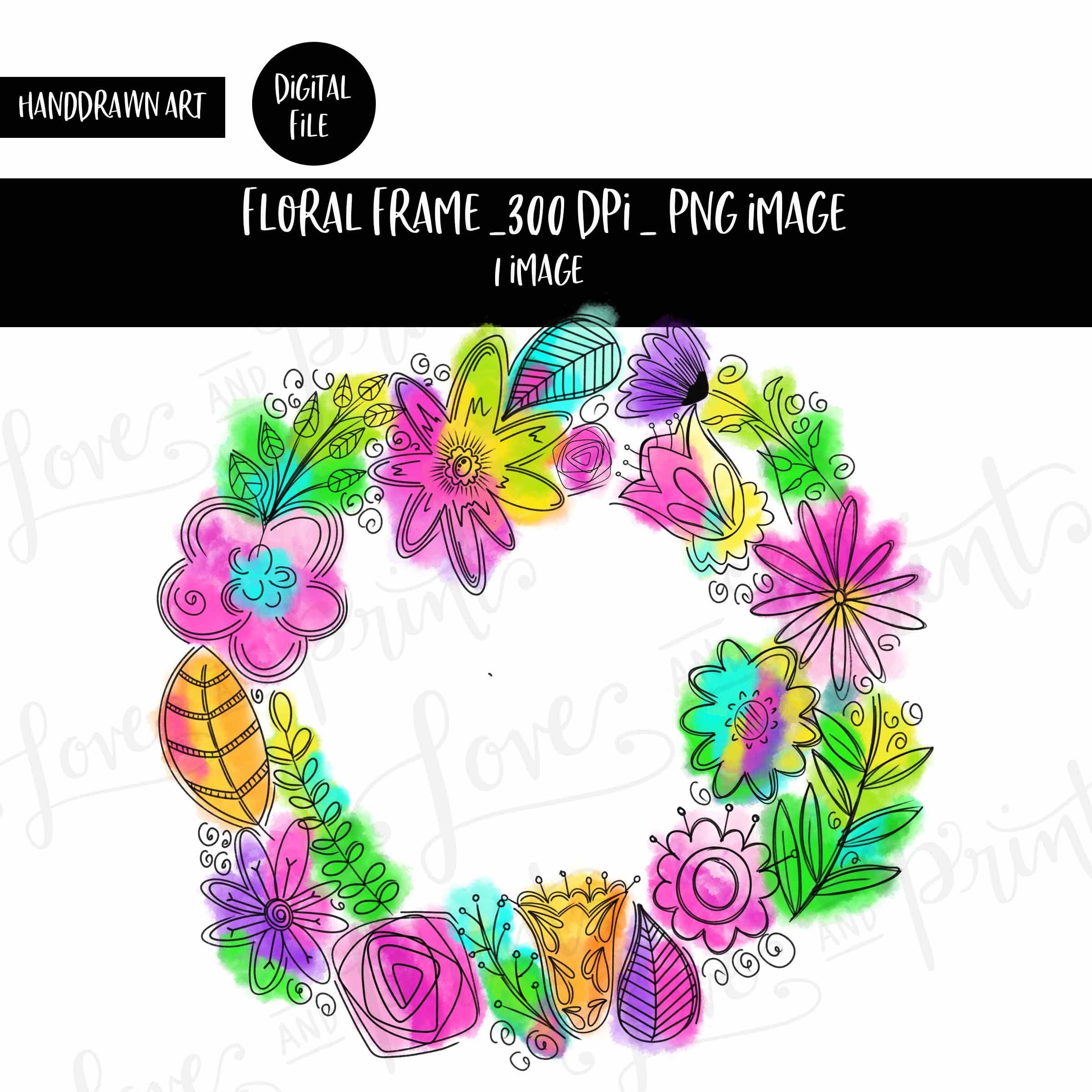 Photo of Floral wreath | Watercolor wreath Hand drawn flowers | Sublimation | clipart | Floral clip art | Bright floral wreath Doodle flowers