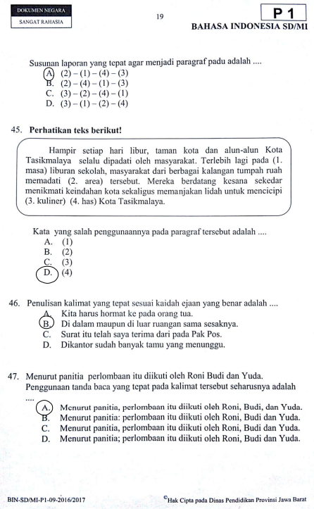 Soal Try Out Sd 2020 Bahasa Indonesia