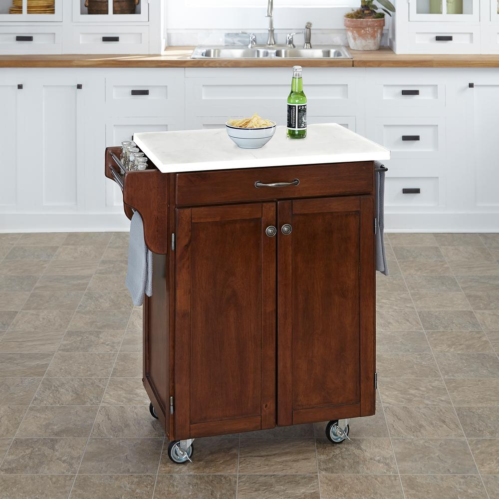 Homestyles Cuisine Cart Cherry Kitchen Cart With Quartz Top Cherry White Quartz Cherry Kitchen Kitchen Island Cart Kitchen Cart