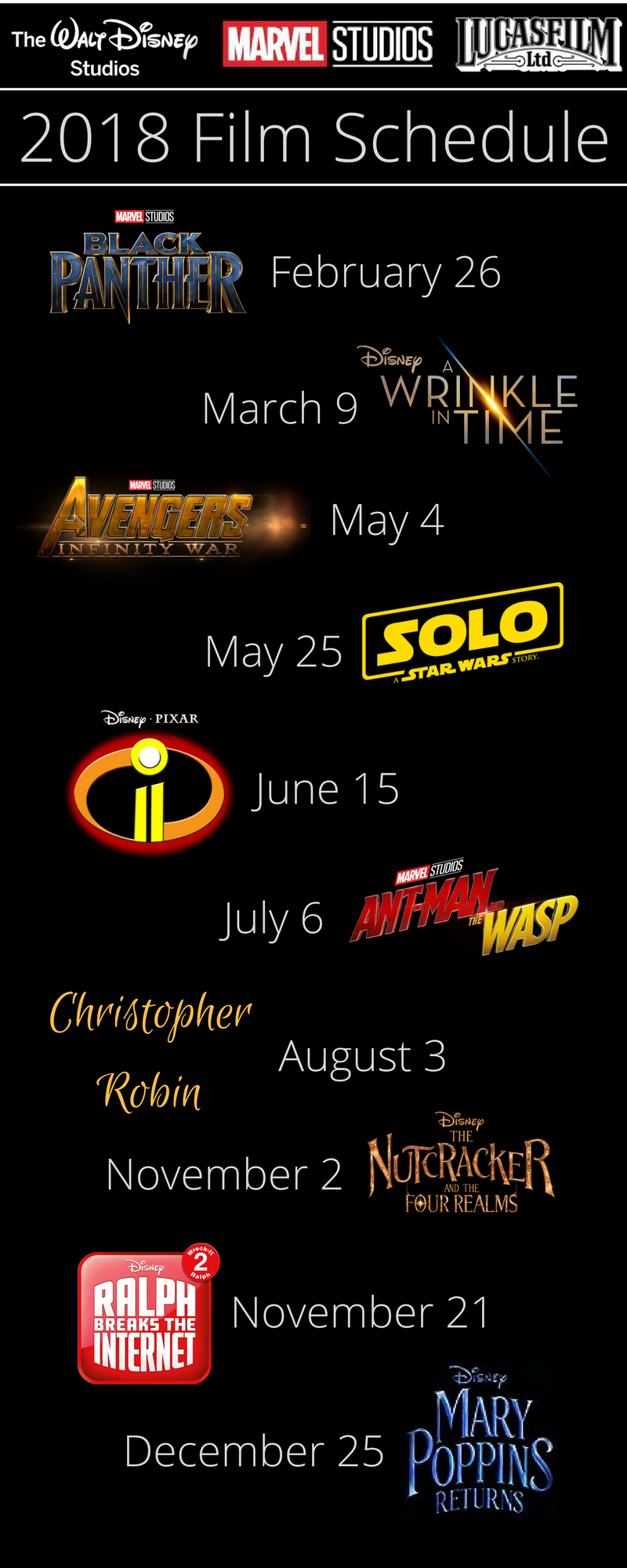 Get the full film schedule of films coming from Walt