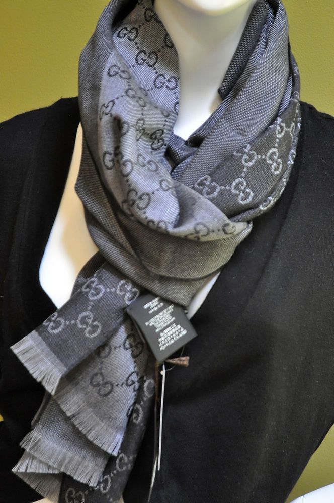 0959a53cd8d GUCCI Mens GG Signature Wool Jacquard Reversible Charcoal Grey Scarf Dust  Bag  Gucci  Scarf