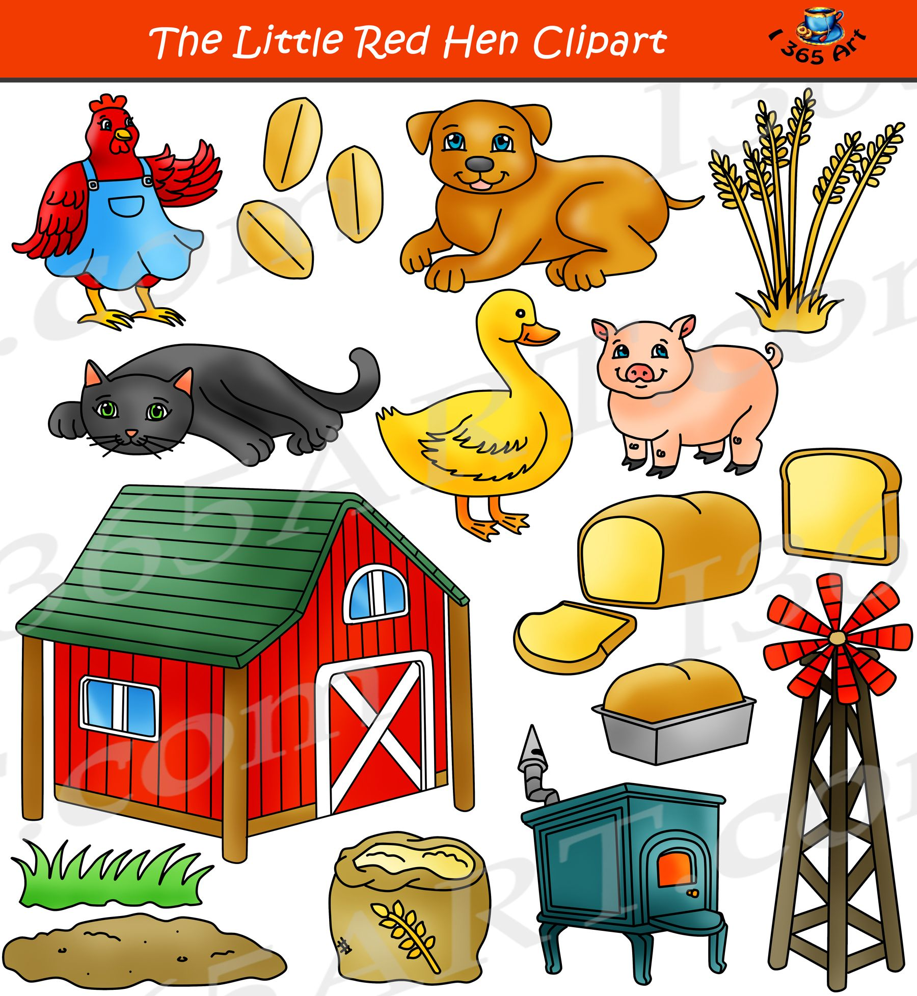 The Little Red Hen Clipart Set Children S Story Commercial Clipart Graphics Download By Clipart 4 School Https Little Red Hen Little Red Hen Story Red Hen