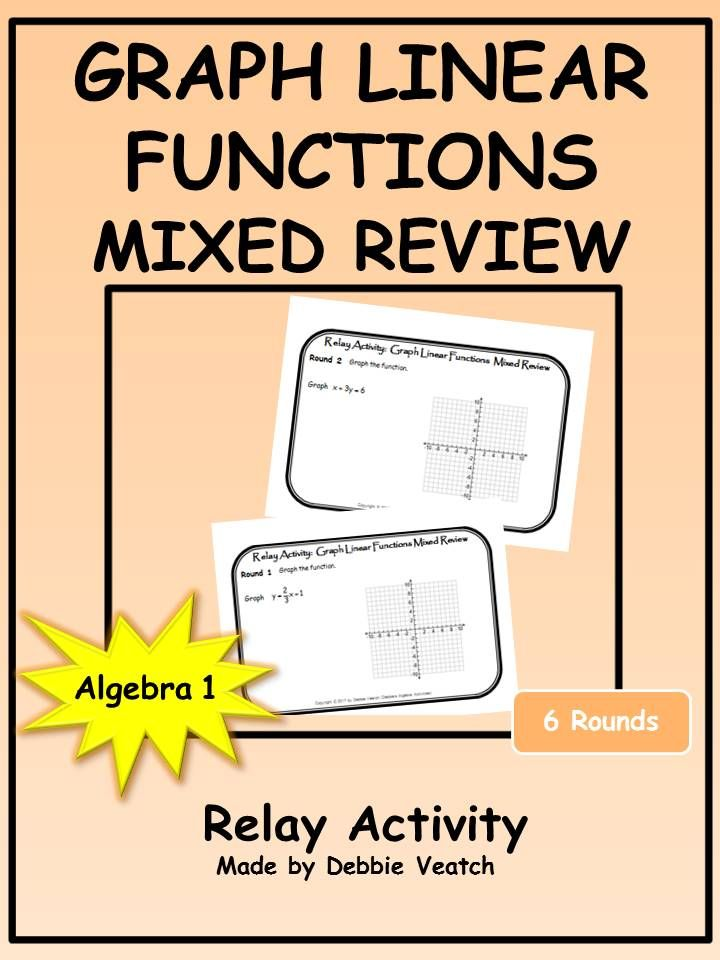 Graph Linear Functions Mixed Review Relay Activity Linear Function