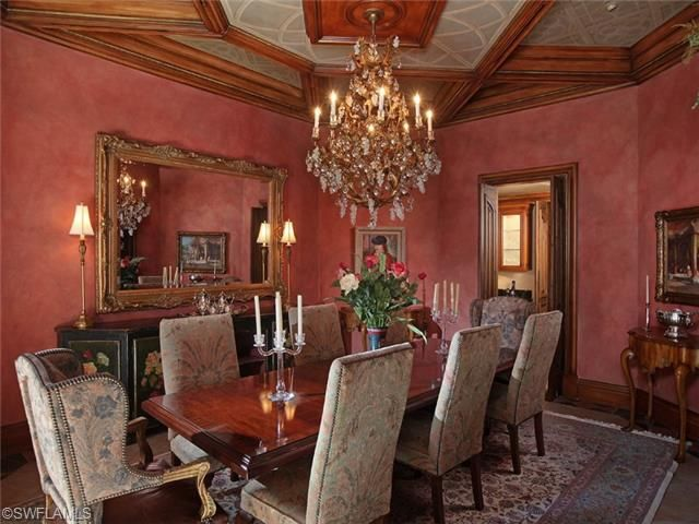 Bay colony shores formal dining room with crystal for Formal dining room chandelier