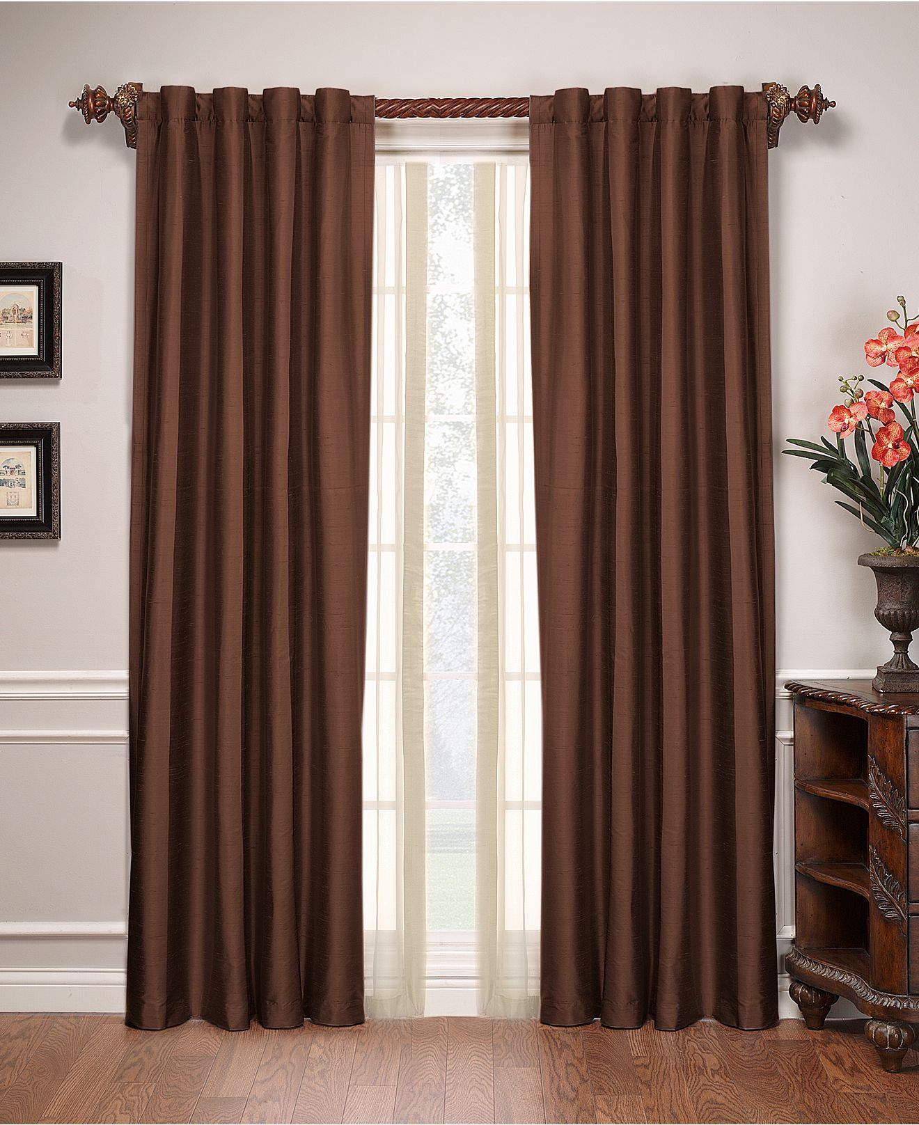 Brown Curtains - Living Room Home