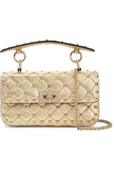 f28eb311b30 Valentino - Valentino Garavani The Rockstud Spike Small Quilted Metallic Leather  Shoulder Bag - Gold