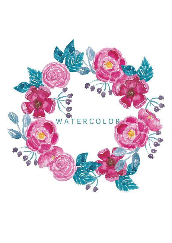 Watercolor flowers Clipart, Roses clipart, bouquets, flowers wreath ...