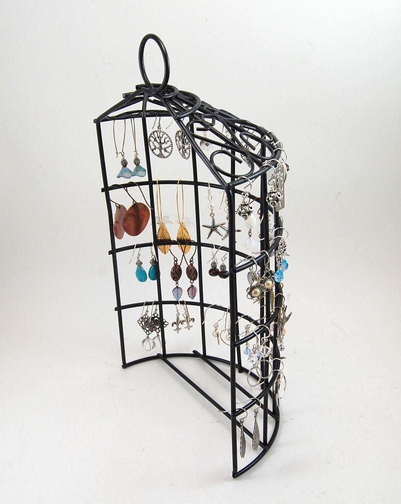 Birdcage Jewelry Stand Earring Organizer - Back Wire Jewelry Holder ...