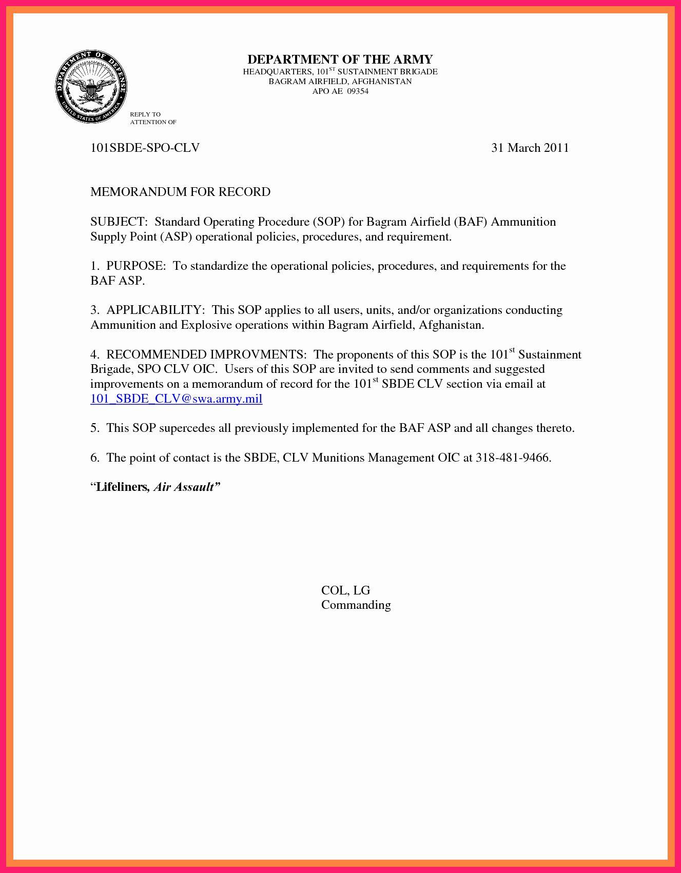 Army Memorandum for Record Template Beautiful Memorandum for
