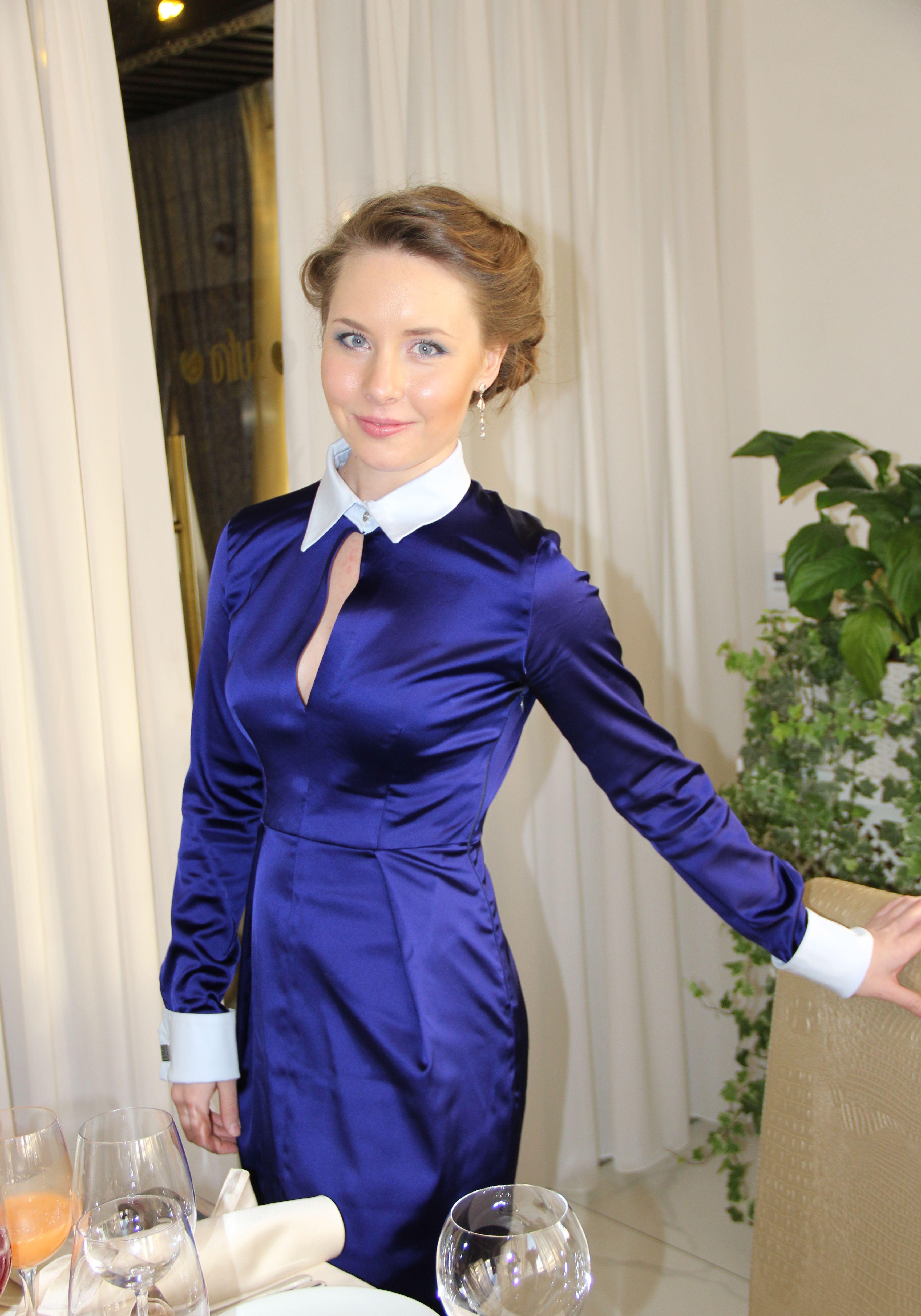 Blue stretch satin homemade fitted dress | Short dresses ...