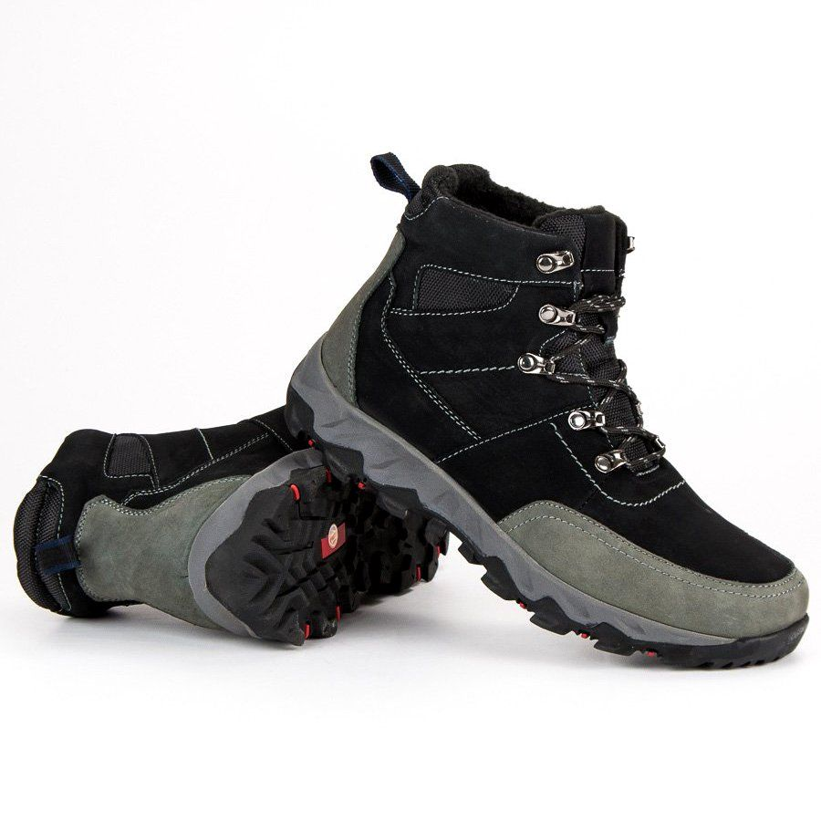 Trekkingowe Meskie Originalwalkmanshoes Original Walkman Shoes Czarne Skorzane Buty Trekkingowe Boots Shoes Hiking Boots