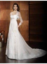 Sweetheart Beaded hoge taille vintage trouwjurken