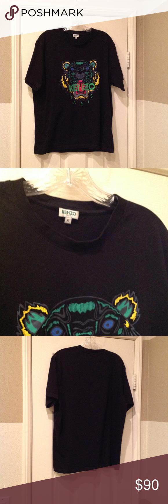 efd097261b Kenzo men's black cotton, tiger T-shirt. Size XL. Kenzo men's, black ...