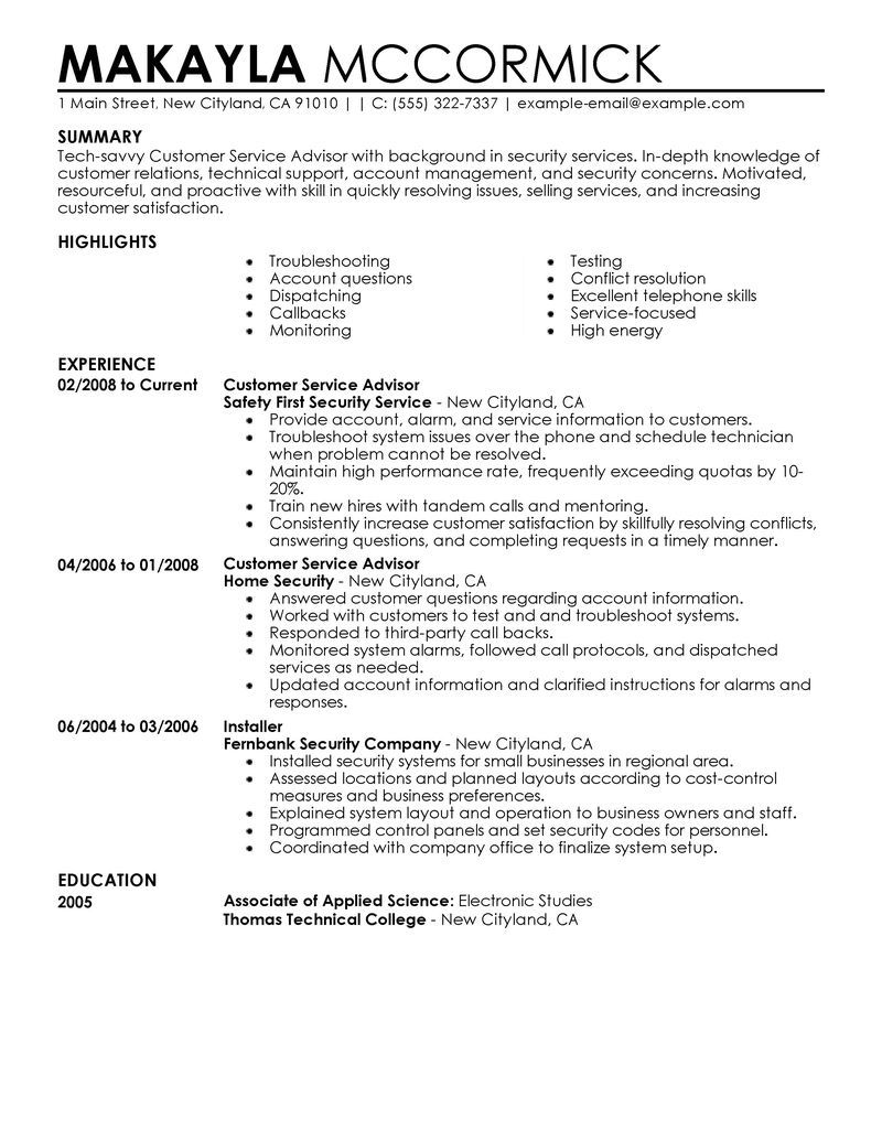 Resume Objective For Customer Service Specialist