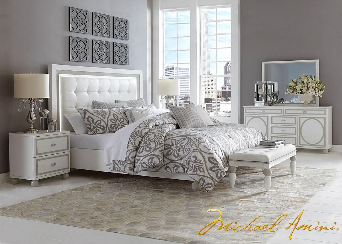 Sky tower pc queen bedroom by michael amini home