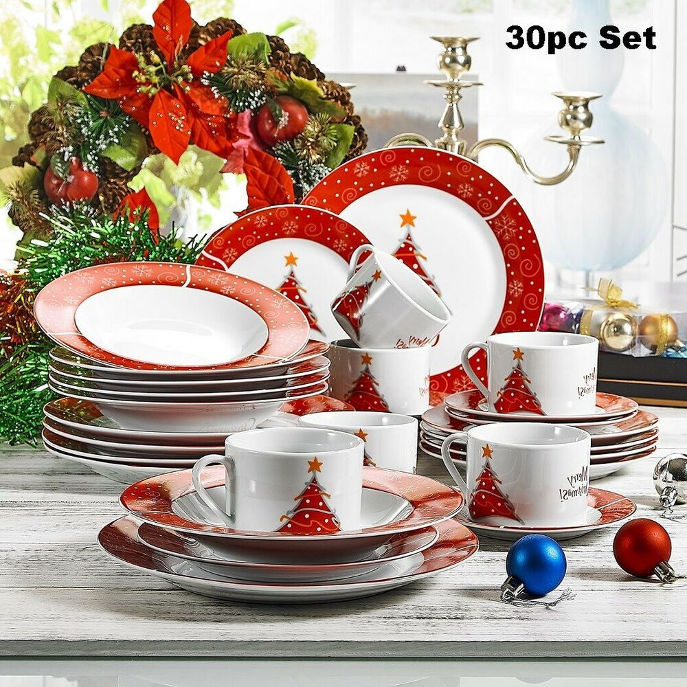 30pc Christmas Dinnerware Set Service For 6 Cup Mug Plate Porcelain Dinner Decor Christmas Dinnerware Sets Christmas Dinnerware Dinner Decoration