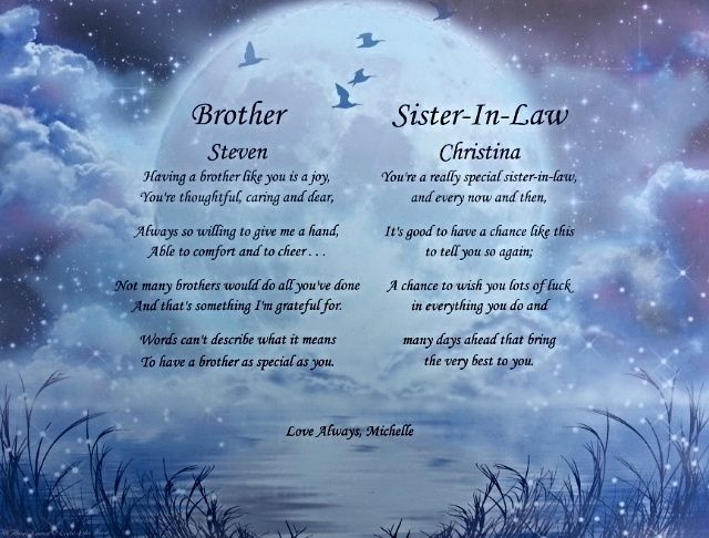 Wedding Gifts For Sister And Brother In Law: Anniversary Poem Brother And Sister In Law