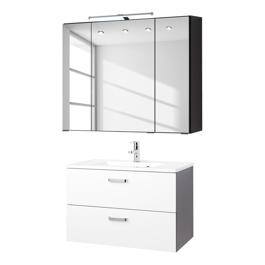 Waschtisch-Set Zeehan (2-teilig) - Weiß / Grau - 80 cm, Giessbach ...