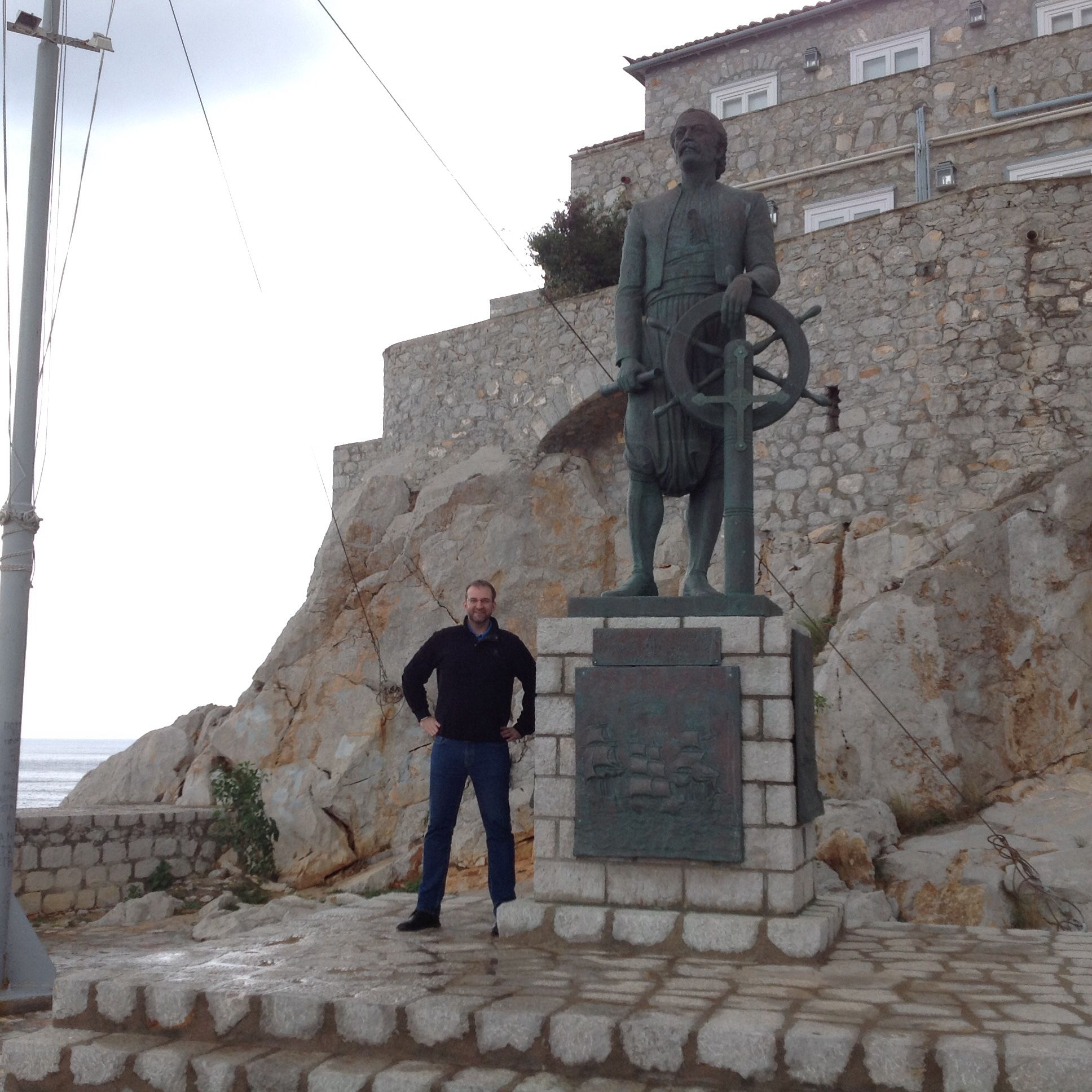Statue of Andreas Miaoulis, admiral during the Greek War of Independence. #Hydra #island #Greece #Hellas #Ellada #war #hero #independence #travelling #selfie janholmberg.weebly.com