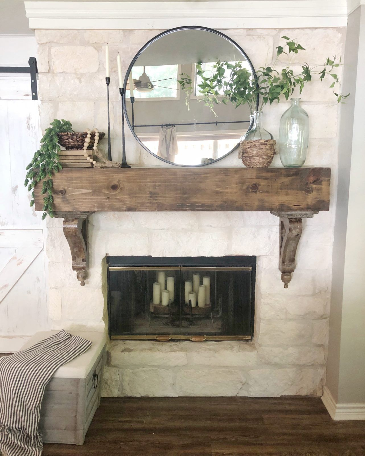 Home Decor Trends For 2020 * Hip & Humble Style. Home trends in decor, decorating ideas, decorating your home, mantel ideas, fireplace inspiration, DIY mantel, rustic mantel. #hipandhumblestyle #homedecorideas