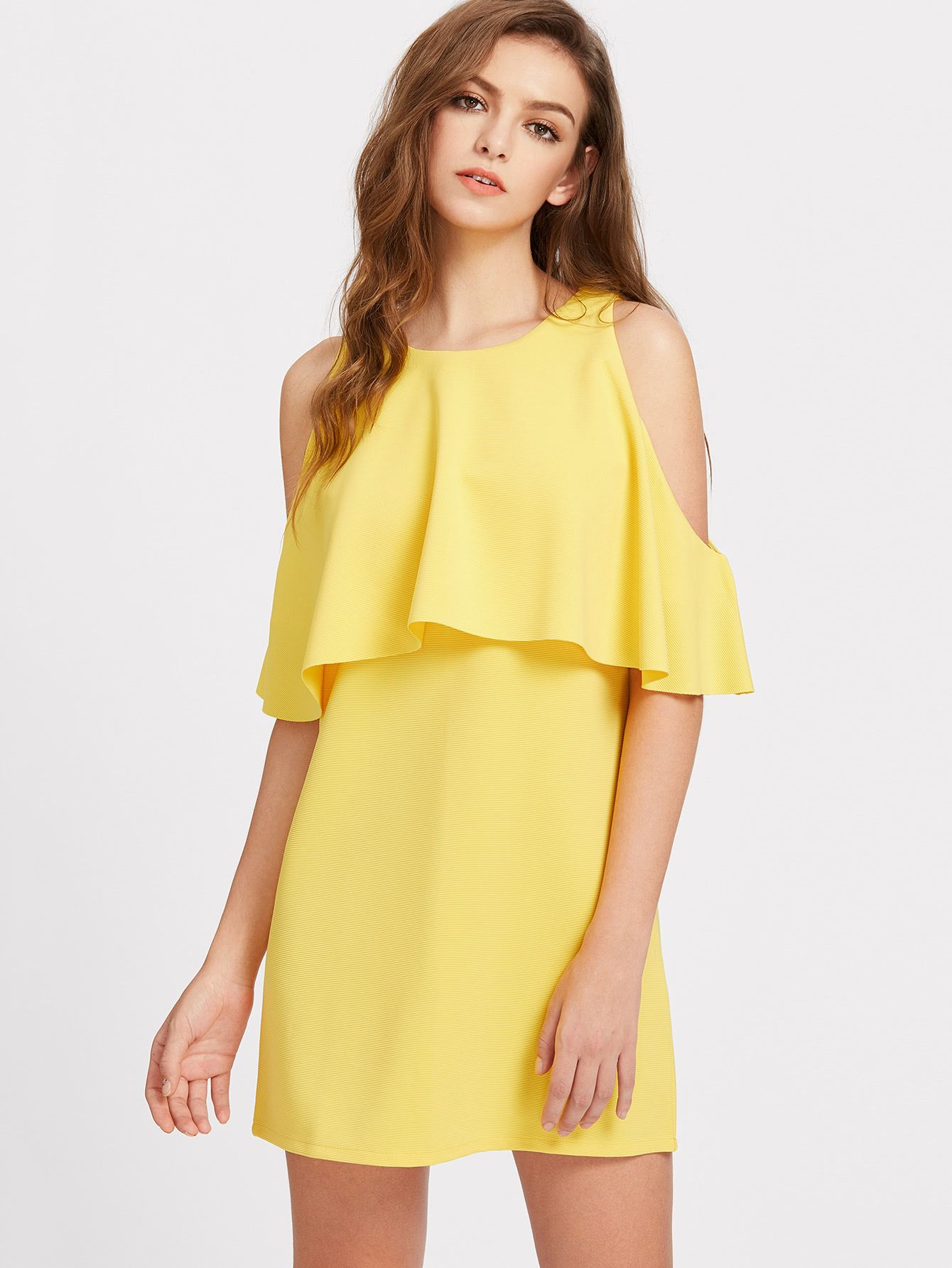 4a03506dd4 Shop Open Shoulder Ruffle Trim Tunic Dress online. SheIn offers Open  Shoulder Ruffle Trim Tunic Dress & more to fit your fashionable needs.