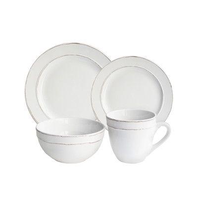laurel foundry modern farmhouse harwood 16 piece dinnerware set color white - White Dinnerware Sets