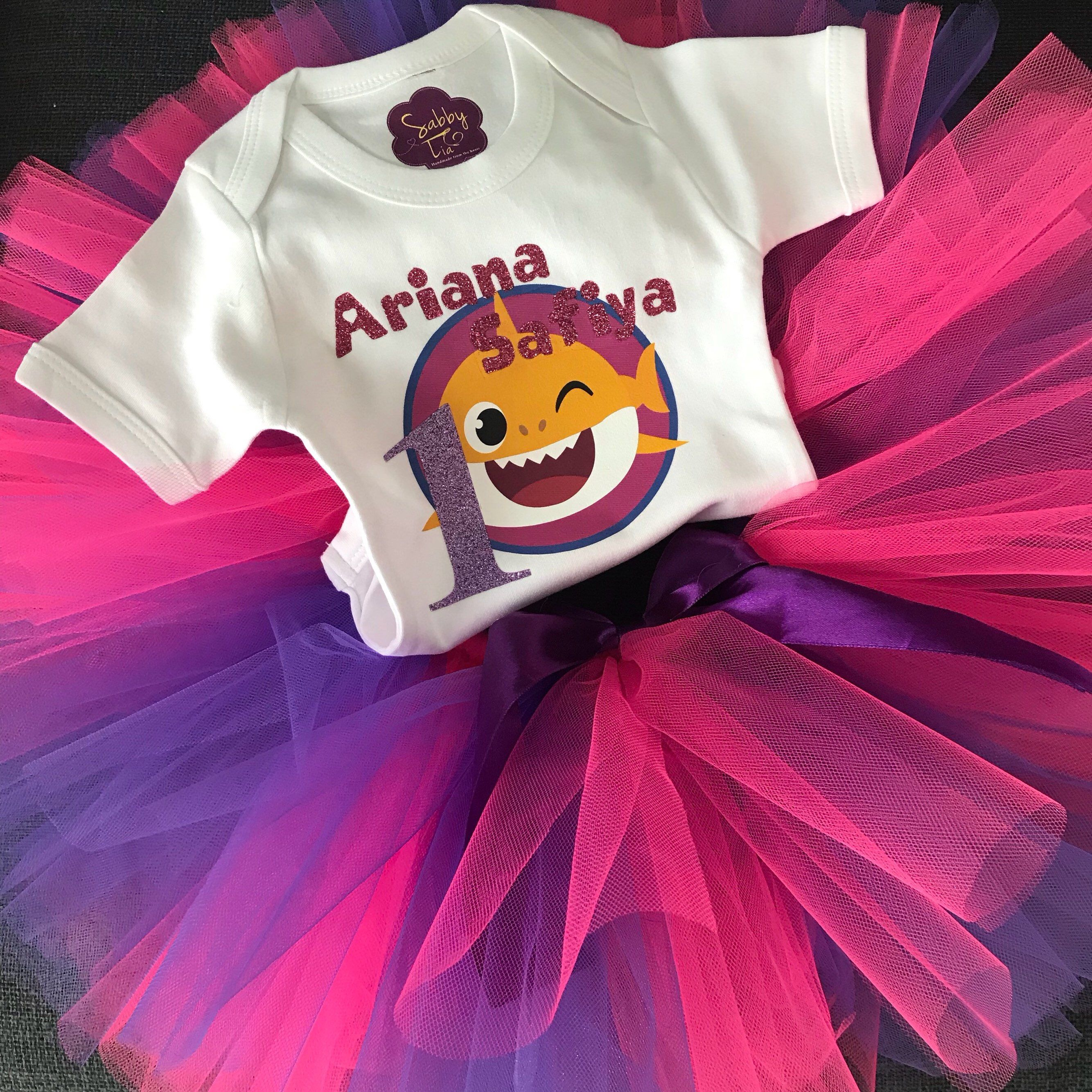 296418027 Baby Shark Birthday Outfit - pink purple tutu outfit - baby shark ...