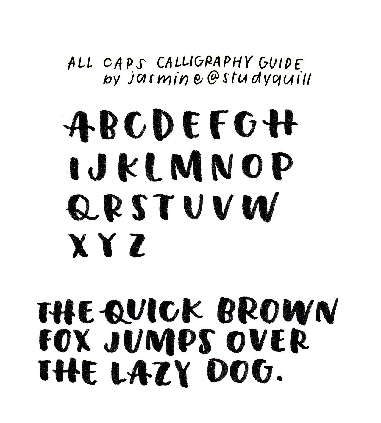 guide to all caps calligraphy, made with this brush pen