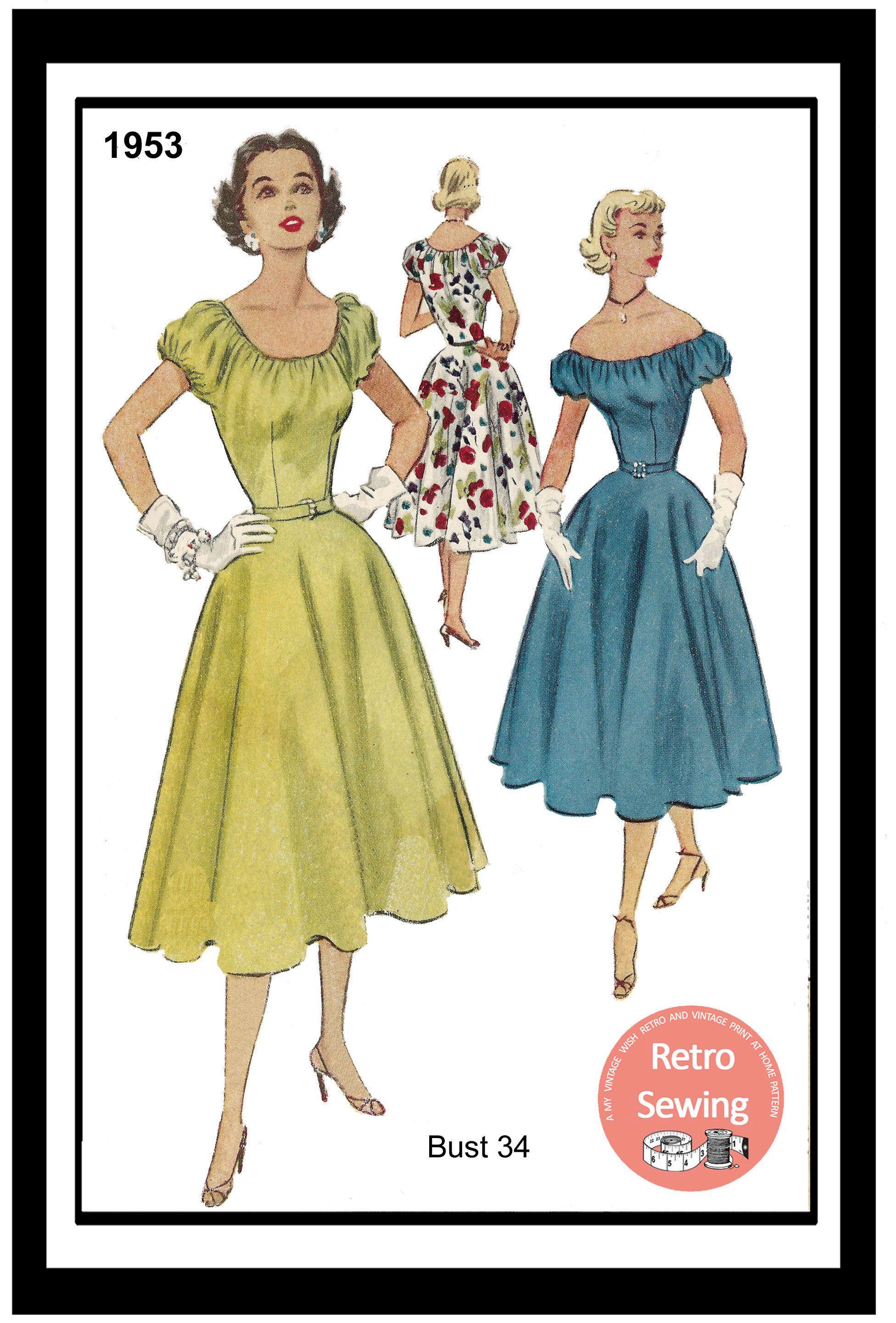 1950 S Off Shoulder Bardot Dress Pdf Sewing Pattern Bust Etsy Off Shoulder Bardot Dress Dresses