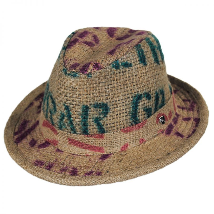 ce415eee Hills Hats of New Zealand Havana Coffee Works Jute Mod Trilby Fedora Hat