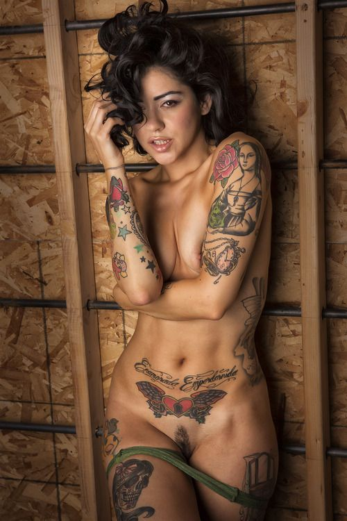 Super sexy tattooed girl fingering her tight shaved pussy 8