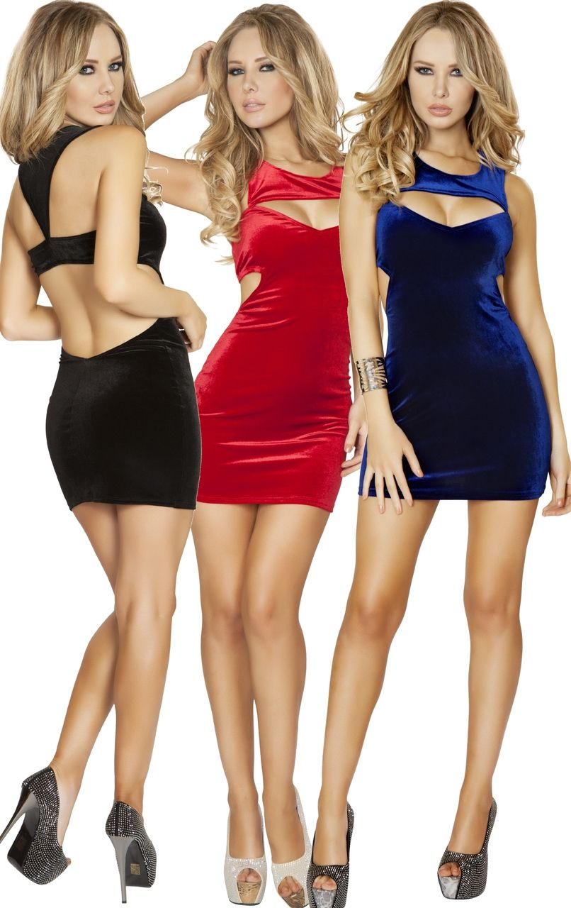 Sexy Roma Black Red Blue Velvet Cut Out Mini Dress Cocktail Party ...