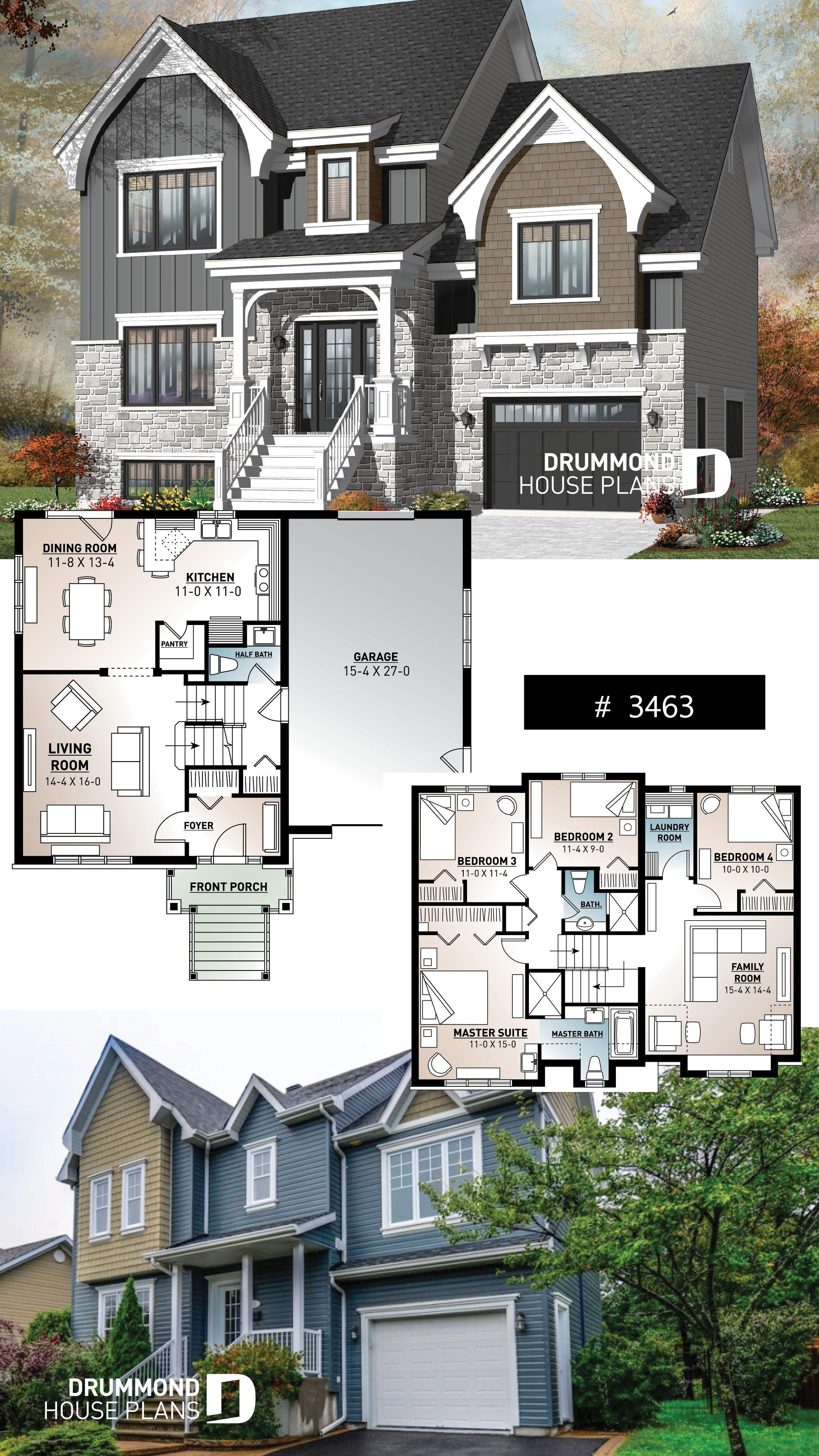 Luxuriöses europäisches 4 +1 Schlafzimmer mit 2 Wohnzimmern und einer Garage #europeanplan …   – Craftsman & Northwest Home Designs
